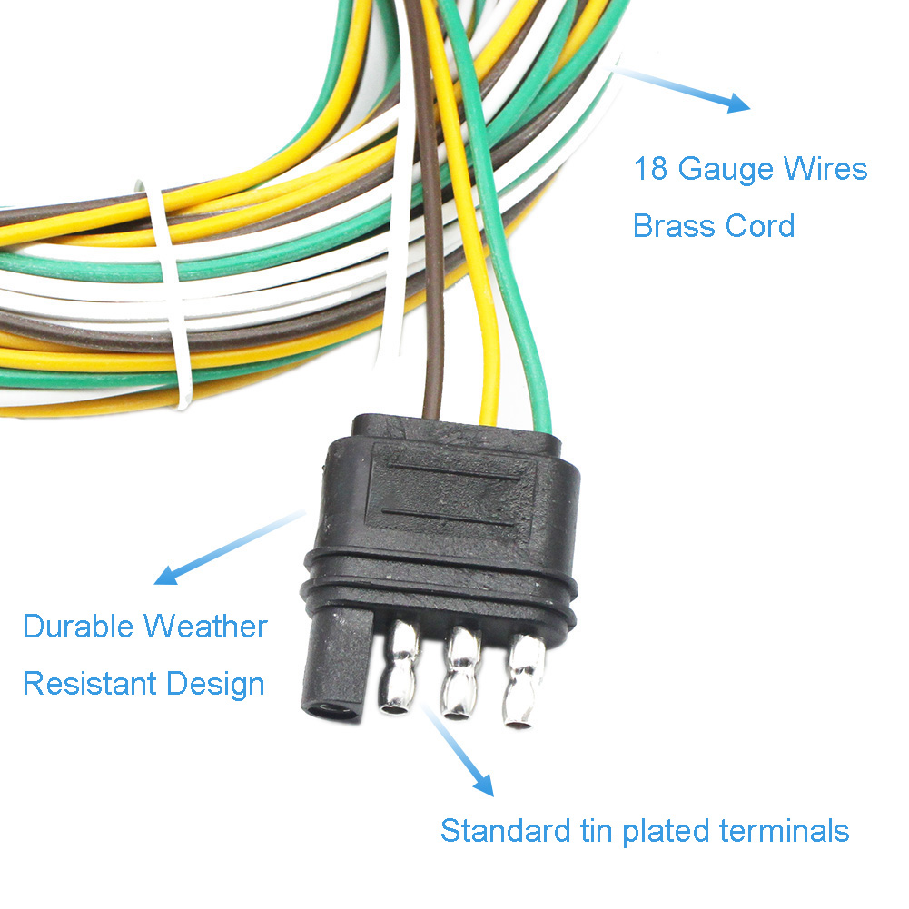 Trailer Light Wiring Harness Extension 4 Way Plug 18 Awg Flat Wire Connector 25f